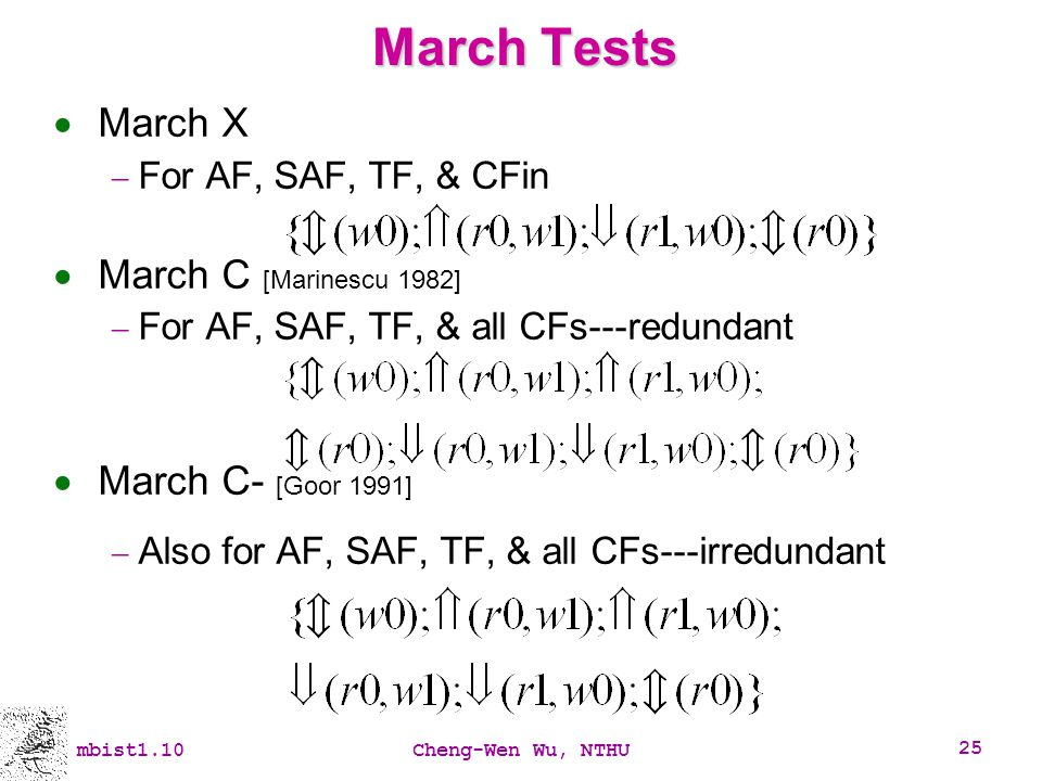 March Tests March X March C [Marinescu 1982] March C- [Goor 1991]